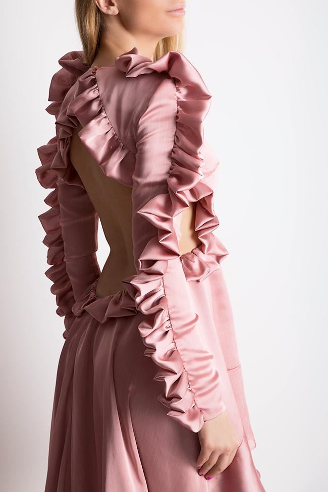 Hortensian asymmetric ruffled open-back silk satin dress Arllabel Golden Brand image 3