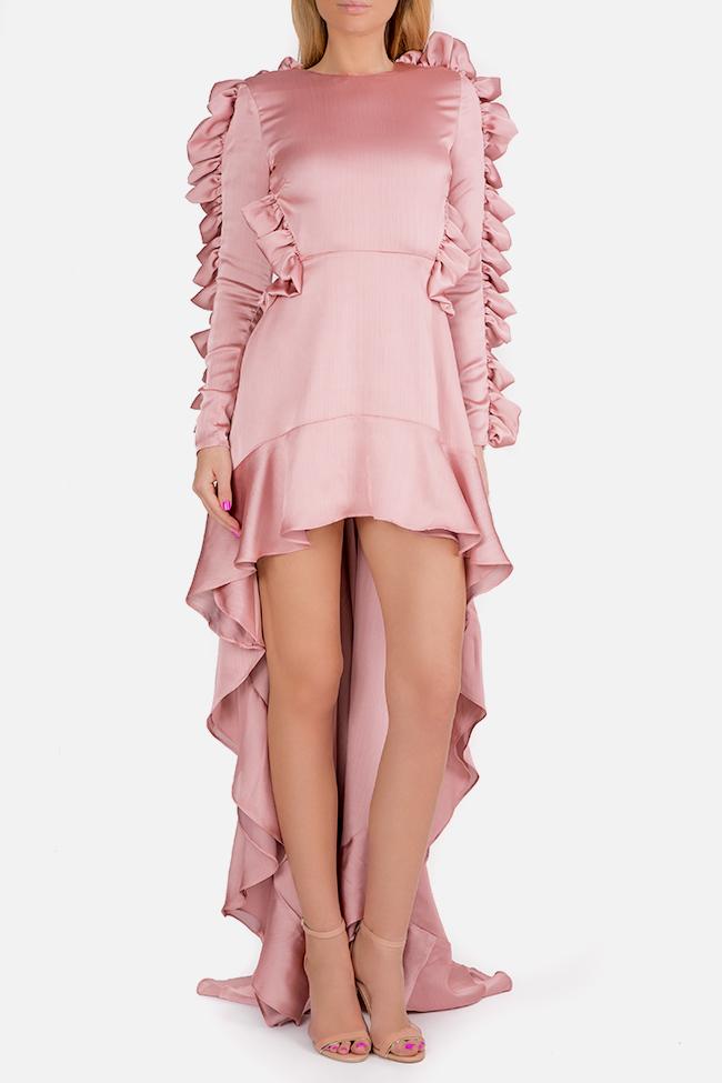 Hortensian asymmetric ruffled open-back silk satin dress Arllabel Golden Brand image 1