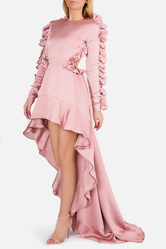 Hortensian asymmetric ruffled open-back silk satin dress Arllabel Golden Brand image 0