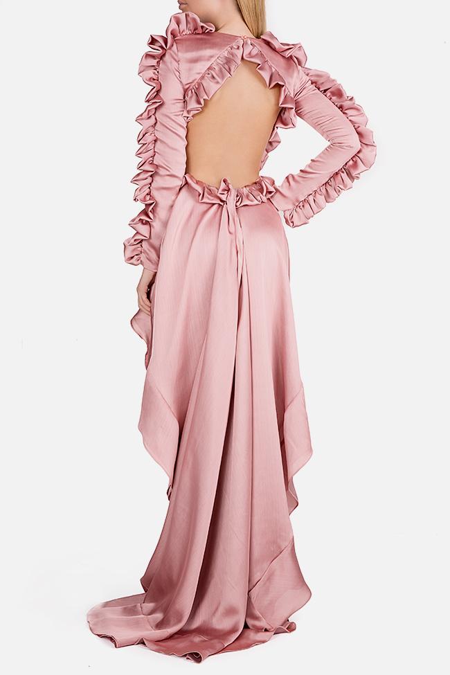 Hortensian asymmetric ruffled open-back silk satin dress Arllabel Golden Brand image 2