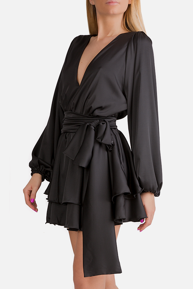 Akari ruffled satin wrap dress Arllabel Golden Brand image 2