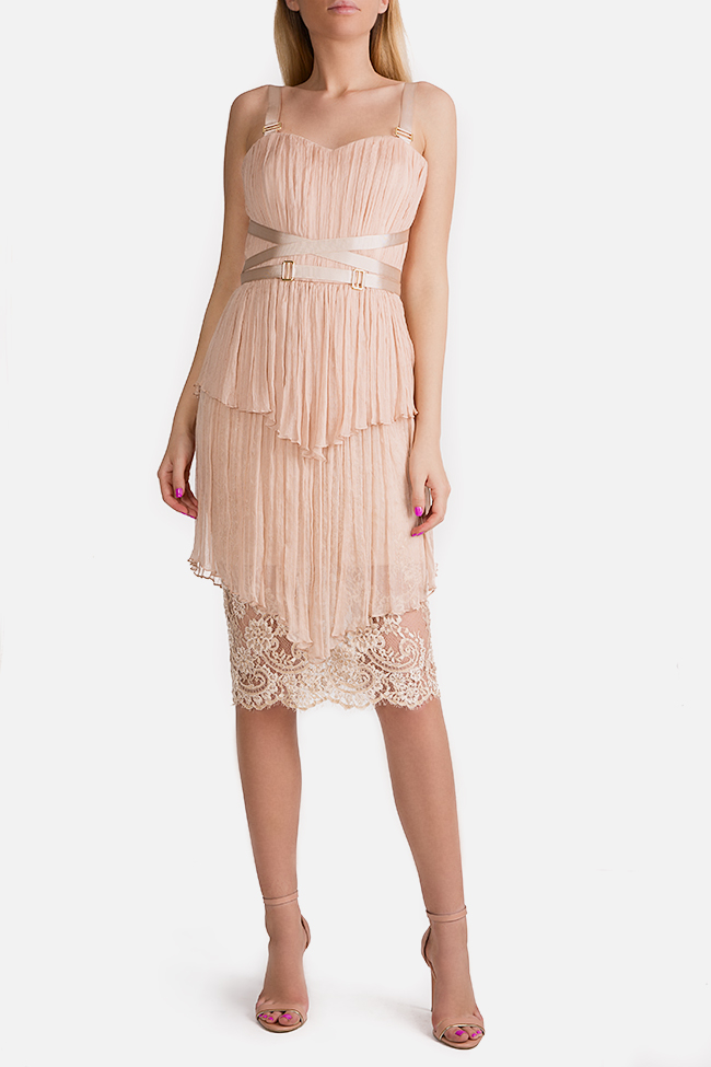 Ramy lace panneled silk-mousseline mini dress Ramona Belciu image 0