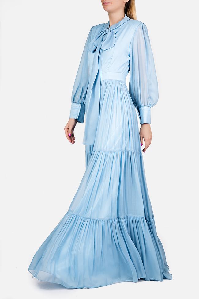 Pussy-bow silk-chiffon maxi dress Cloche image 0