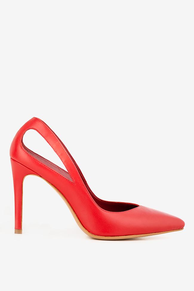 Pantofi din piele cu decupaje Zura90 Ginissima imagine 0
