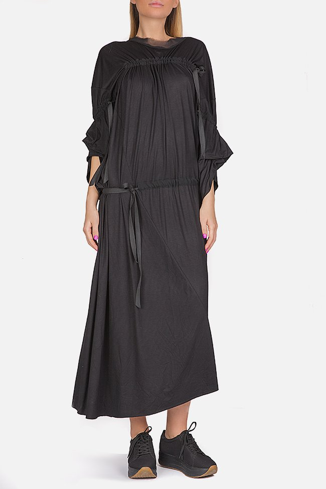 Asymmetric cotton-blend jersey maxi dress Studio Cabal image 0