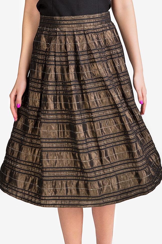 Embroidered silk taffeta midi skirt Oana Manolescu image 3