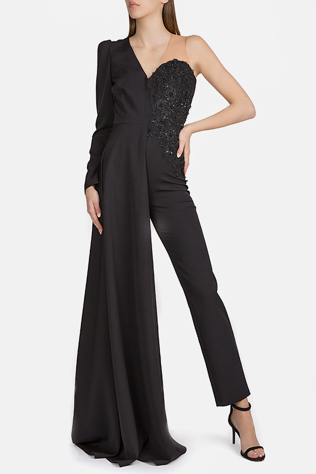 Embroidered draped crepe jumpsuit Esa  image 0
