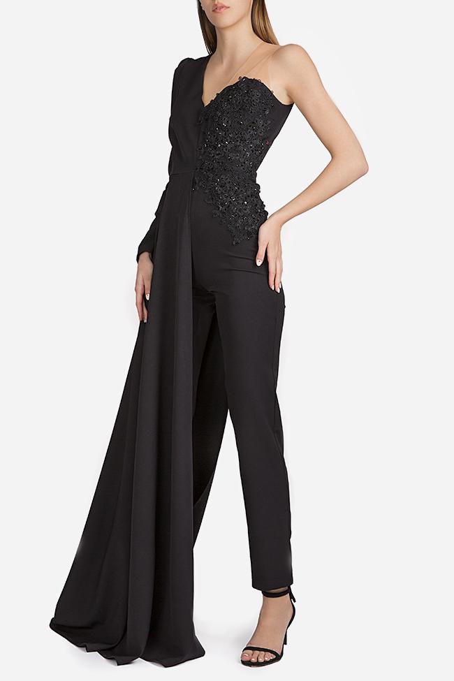Embroidered draped crepe jumpsuit Esa  image 1