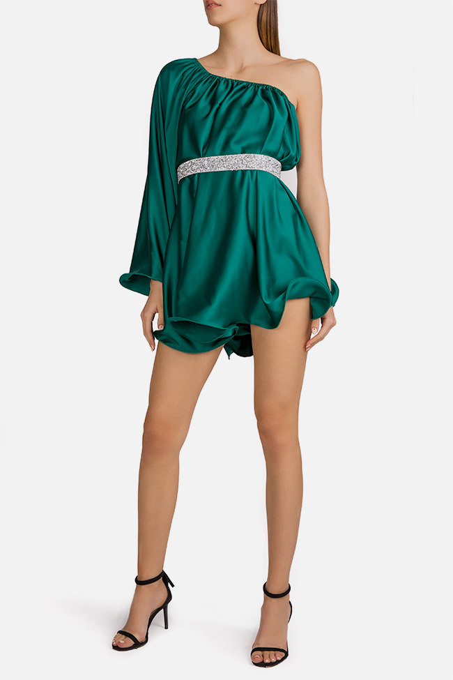 One-shoulder silk-satin mini dress Esa  image 2