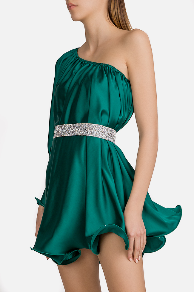 One-shoulder silk-satin mini dress Esa  image 1