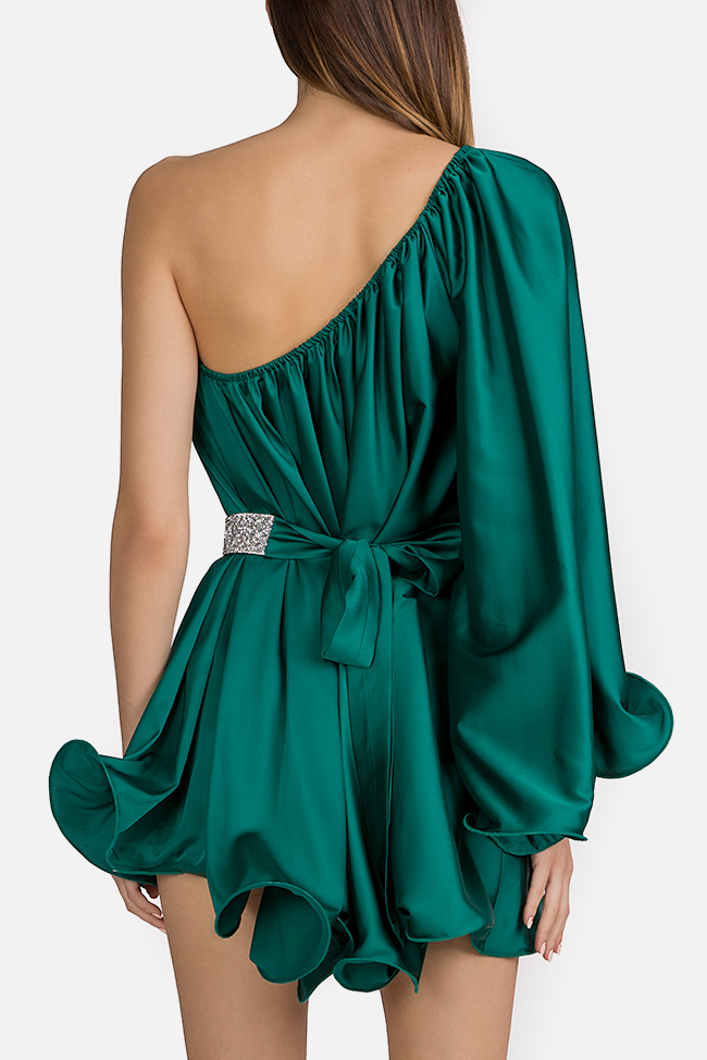 One-shoulder silk-satin mini dress Esa  image 3