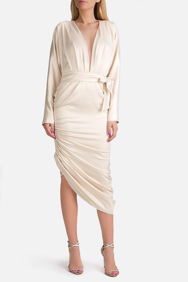 Wrap-effect asymmetric silk midi dress Arllabel Golden Brand image 0