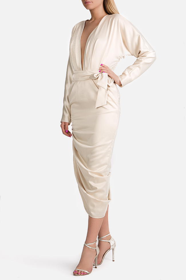 Wrap-effect asymmetric silk midi dress Arllabel Golden Brand image 1