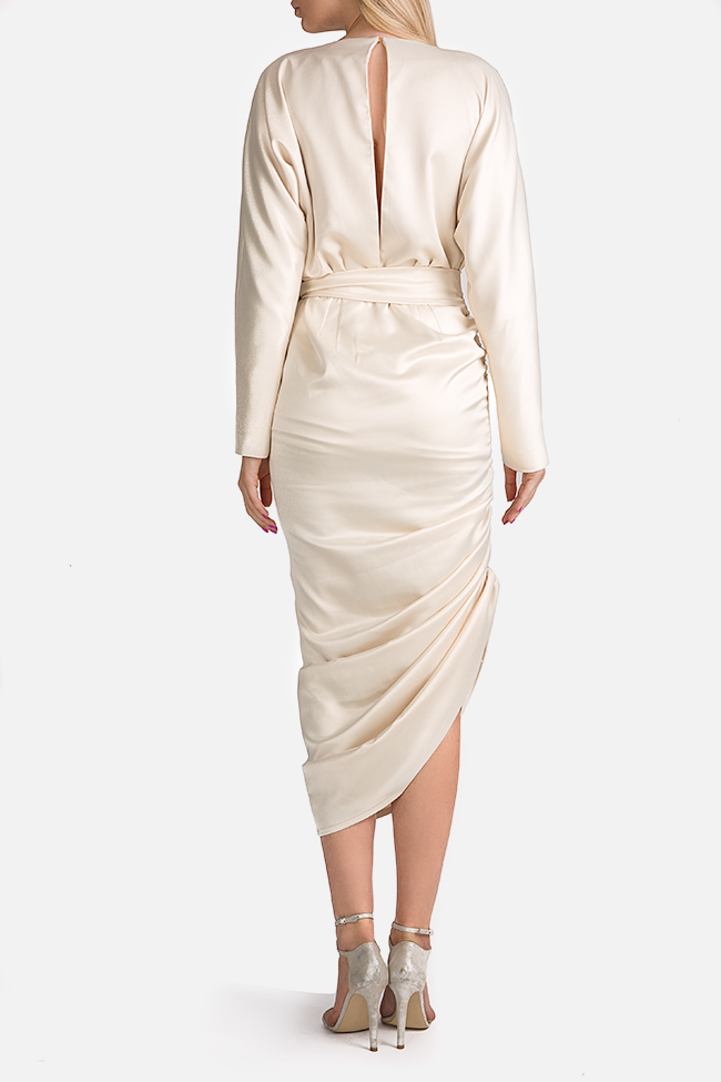 Wrap-effect asymmetric silk midi dress Arllabel Golden Brand image 2