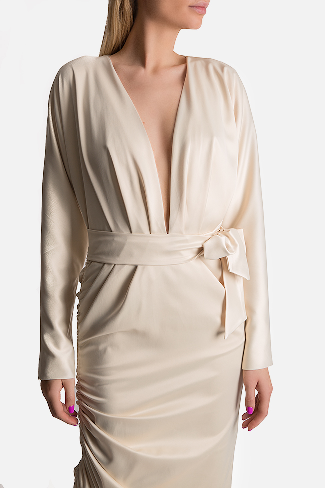 Wrap-effect asymmetric silk midi dress Arllabel Golden Brand image 3