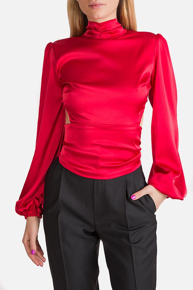 Bluza din matase satinata cu spatele gol Haruki Arllabel Golden Brand imagine 0