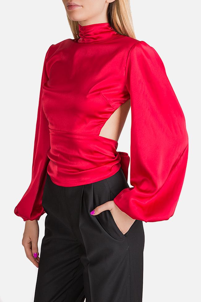 Bluza din matase satinata cu spatele gol Haruki Arllabel Golden Brand imagine 2