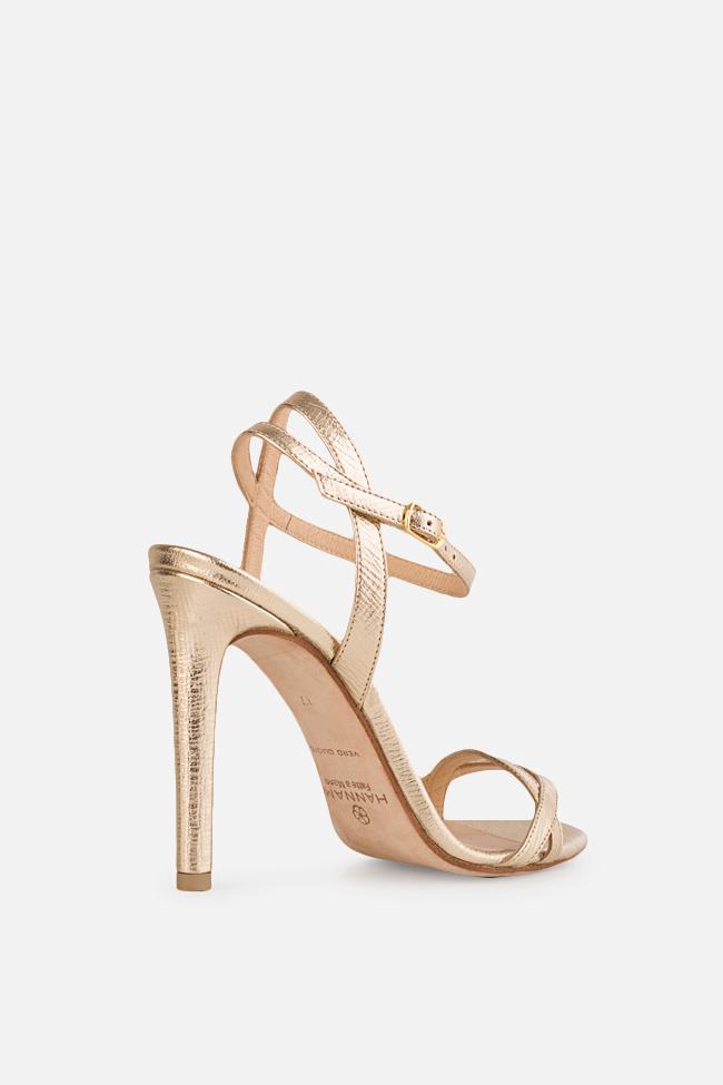 Sandale din piele metalizata Simply Goldie 2 Hannami imagine 1