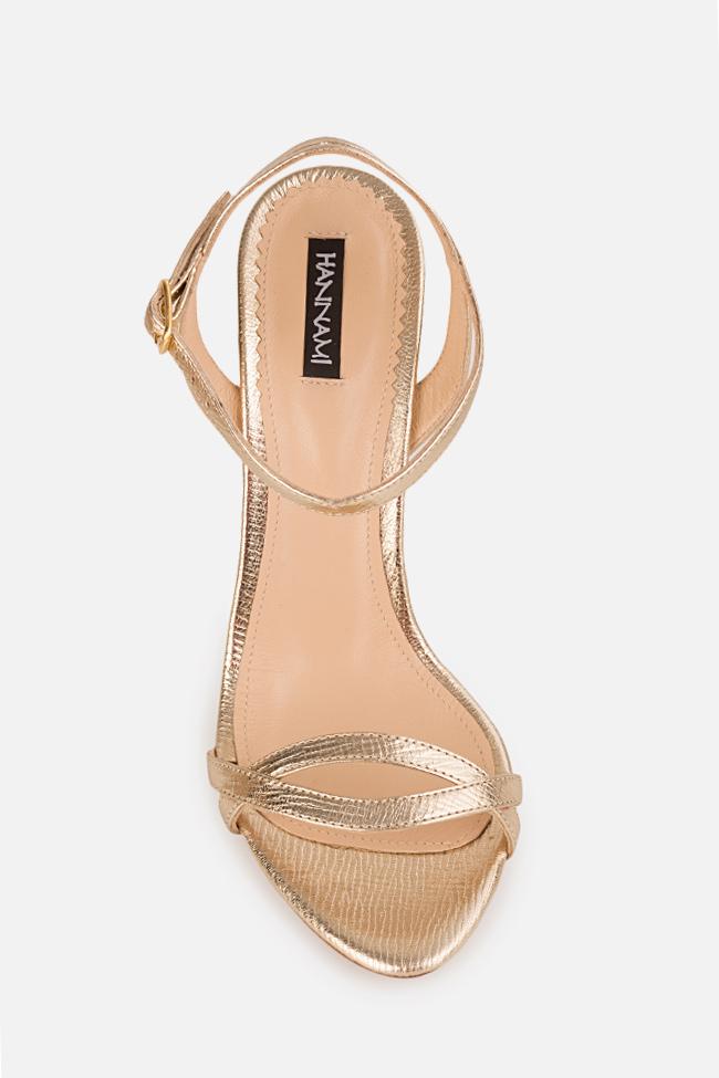 Sandale din piele metalizata Simply Goldie 2 Hannami imagine 2