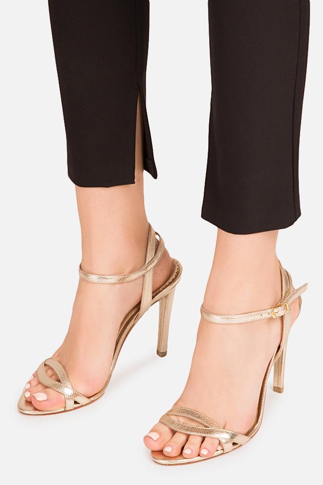 Sandale din piele metalizata Simply Goldie 2 Hannami imagine 3