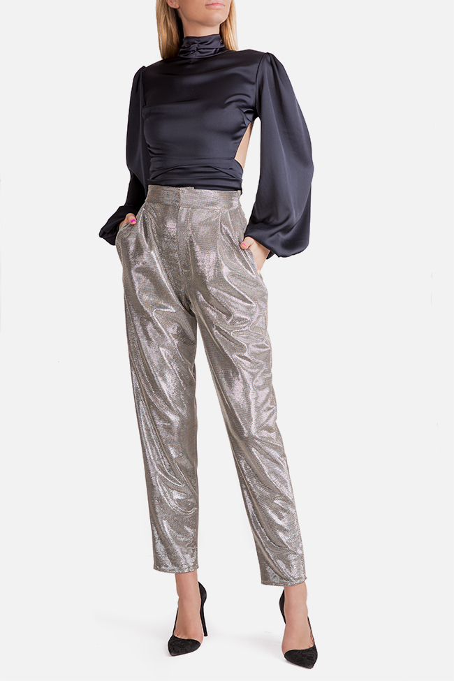 Sacha lamé tapered pants Arllabel Golden Brand image 1