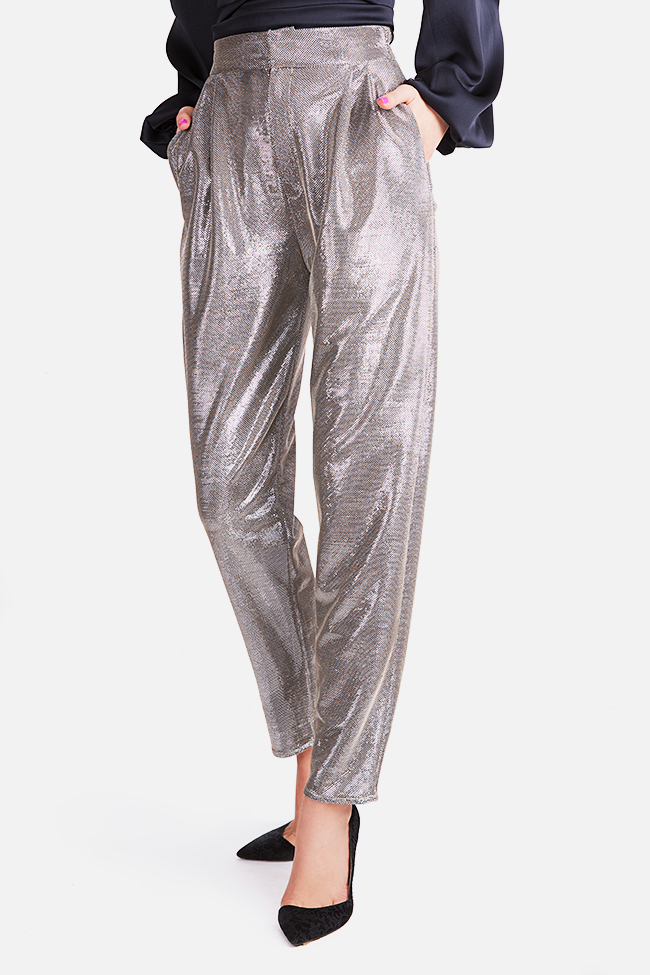 Sacha lamé tapered pants Arllabel Golden Brand image 0