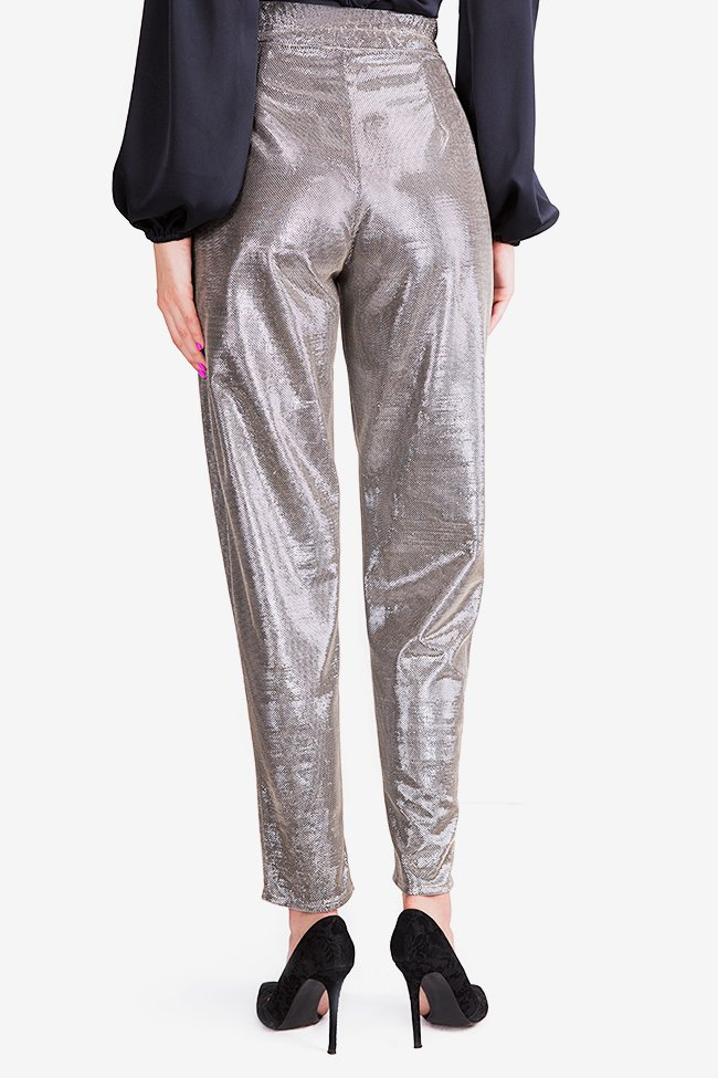 Sacha lamé tapered pants Arllabel Golden Brand image 2