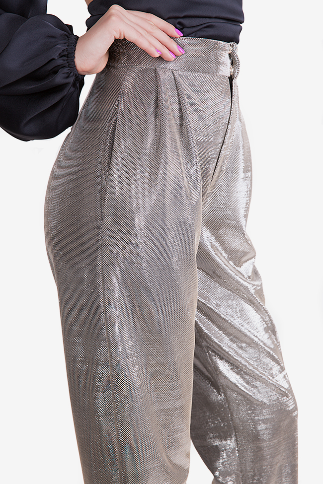 Sacha lamé tapered pants Arllabel Golden Brand image 3