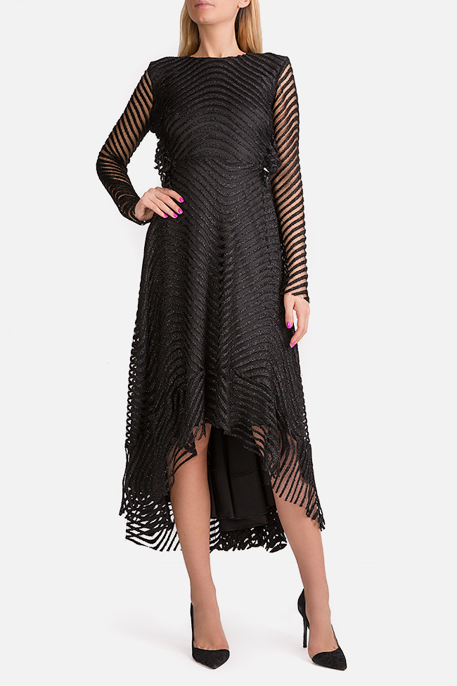 Kylie open-back asymmetric metallic lace midi dress Arllabel Golden Brand image 0