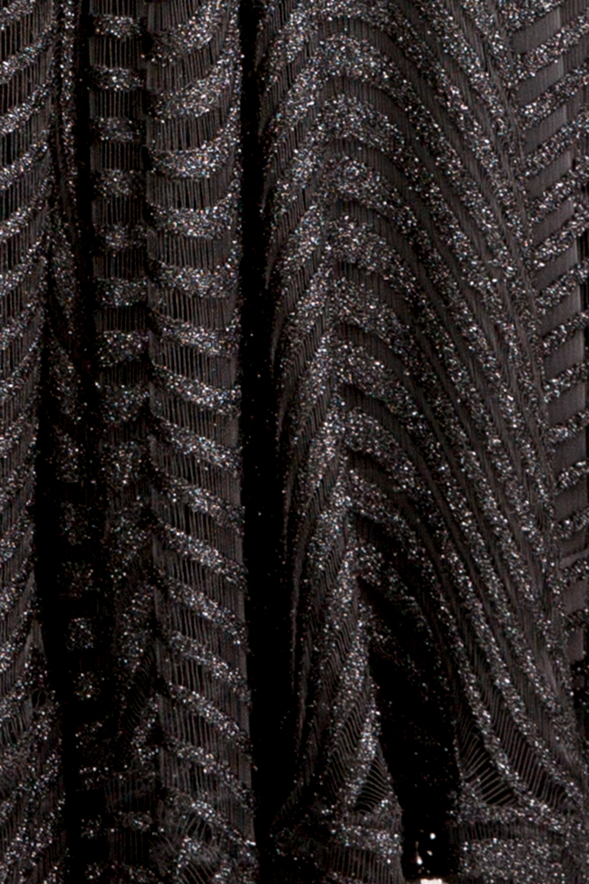 Kylie open-back asymmetric metallic lace midi dress Arllabel Golden Brand image 4