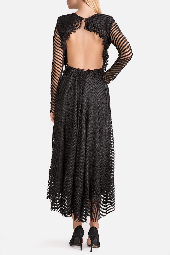 Kylie open-back asymmetric metallic lace midi dress Arllabel Golden Brand image 2
