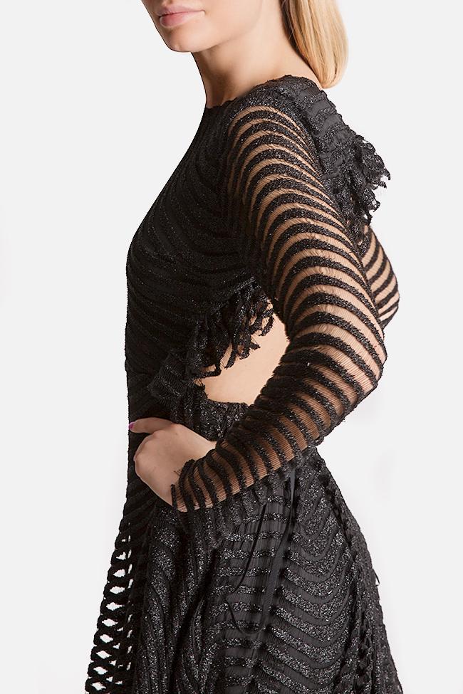 Kylie open-back asymmetric metallic lace midi dress Arllabel Golden Brand image 3