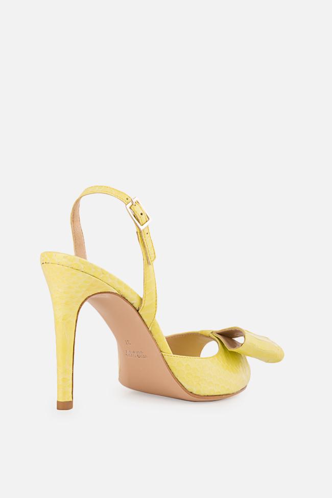 Sandale din piele de sarpe cu funda Sylvia Ginissima imagine 1