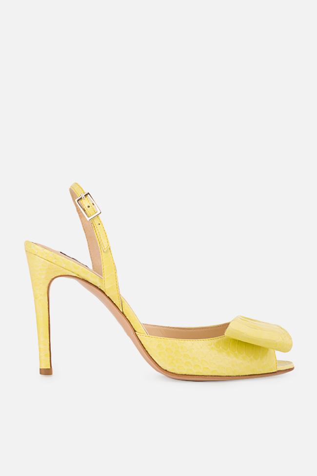 Sandale din piele de sarpe cu funda Sylvia Ginissima imagine 0