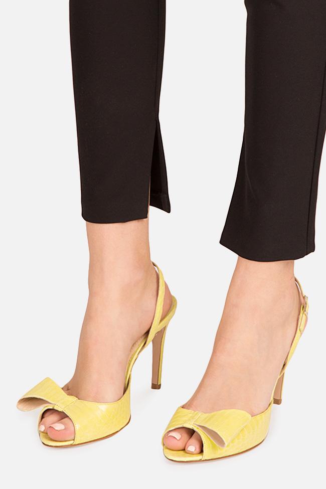 Sandale din piele de sarpe cu funda Sylvia Ginissima imagine 3