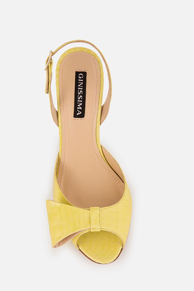 Sandale din piele de sarpe cu funda Sylvia Ginissima imagine 2