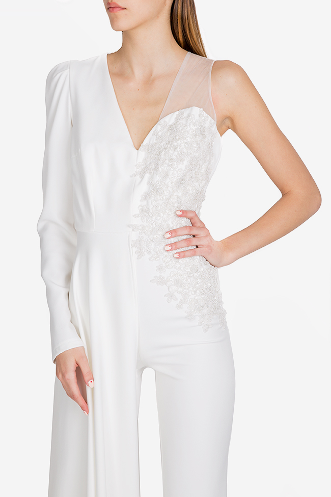 Mariola embroidered draped crepe jumpsuit Esa  image 3