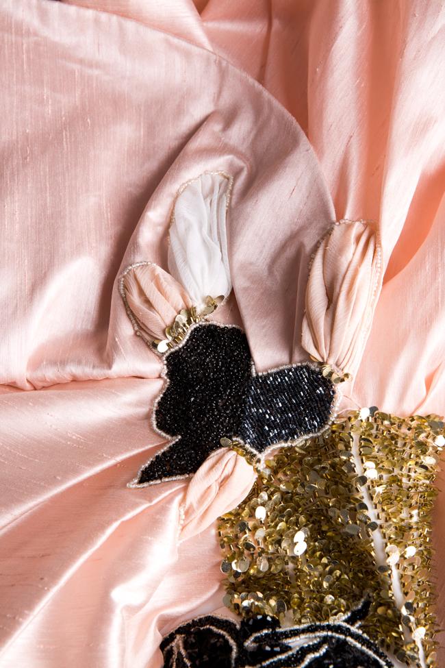 Rochie din tafta satinata din matase cu broderie din paiete Alda Ciceu imagine 4