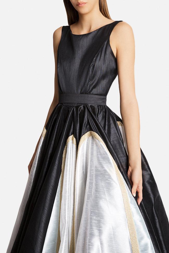 Belted lace-paneled silk satin taffeta gown Alda Ciceu image 3