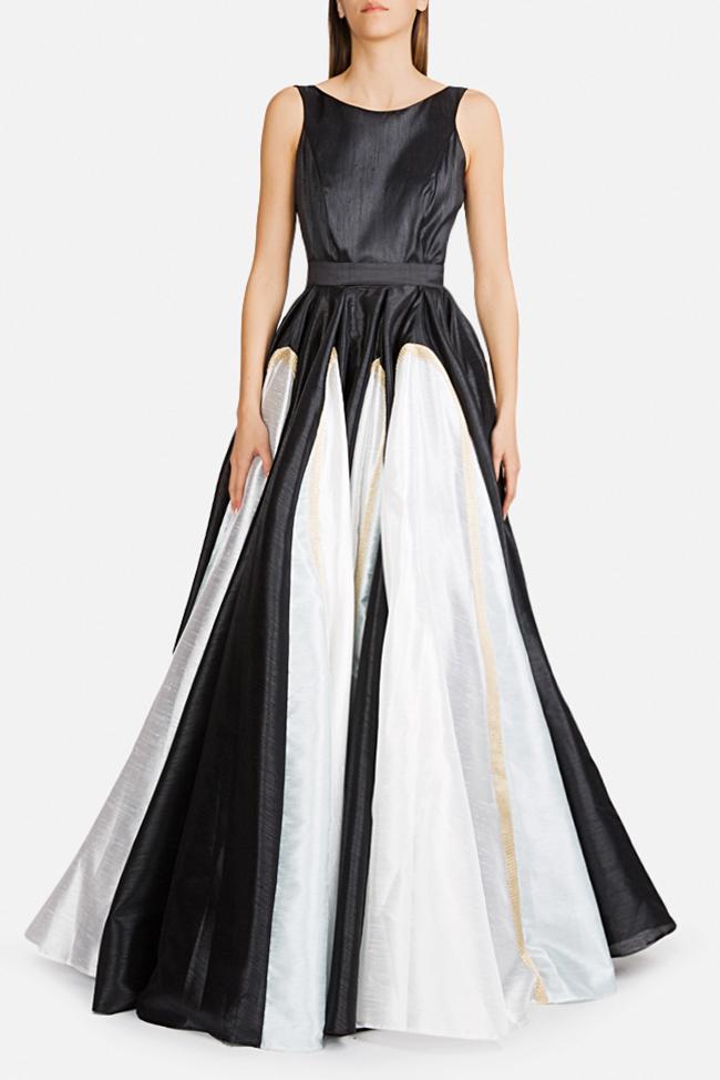 Belted lace-paneled silk satin taffeta gown Alda Ciceu image 0
