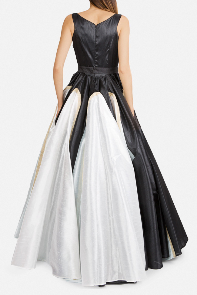 Belted lace-paneled silk satin taffeta gown Alda Ciceu image 1