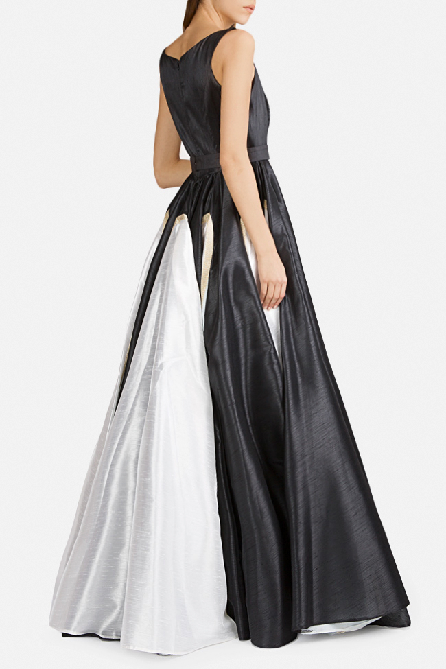 Belted lace-paneled silk satin taffeta gown Alda Ciceu image 2