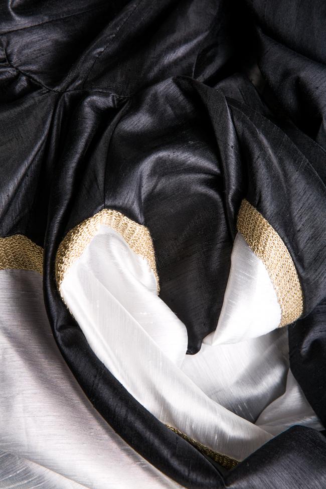 Rochie din tafta satinata din matase cu insertii din dantela Alda Ciceu imagine 4