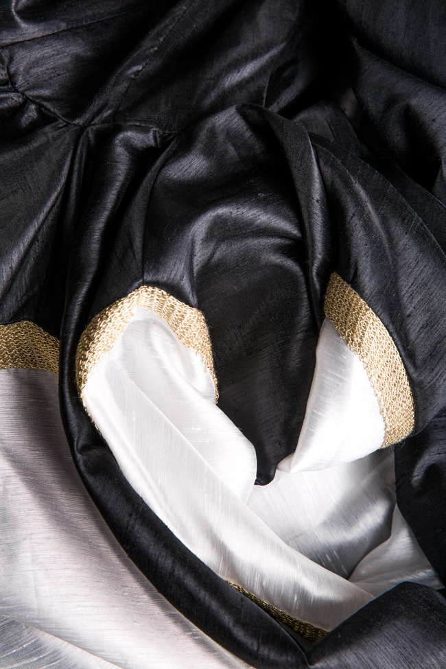 Belted lace-paneled silk satin taffeta gown Alda Ciceu image 4