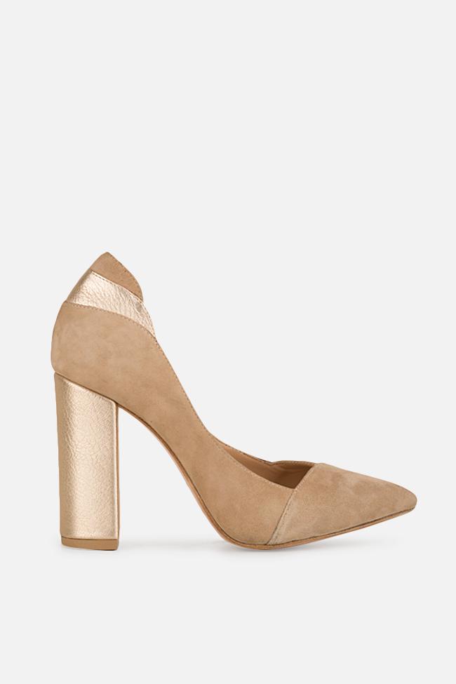 Pantofi din piele intoarsa cu insertii din piele metalizata Bright Office Day Hannami imagine 0