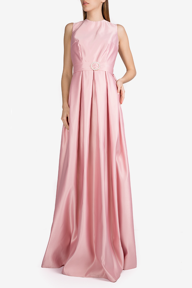 Belted satin taffeta maxi dress Esa  image 0