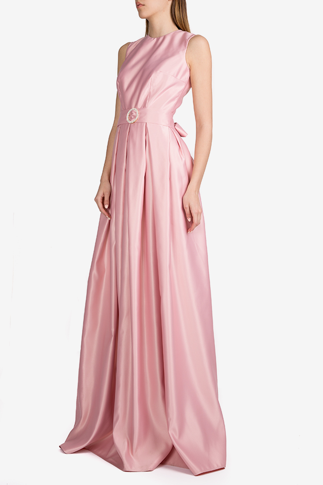 Belted satin taffeta maxi dress Esa  image 1