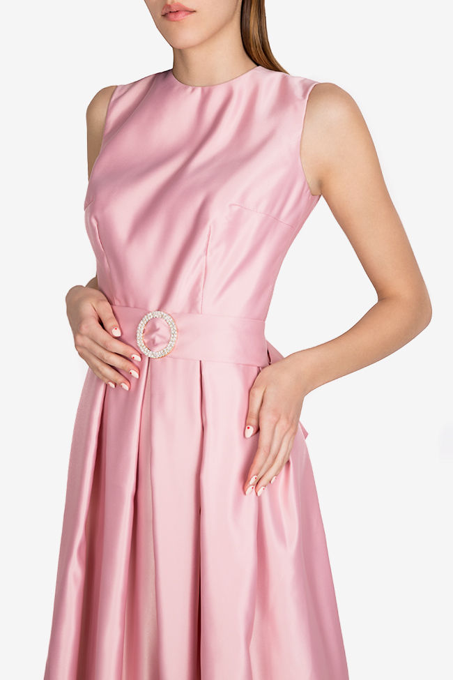 Belted satin taffeta maxi dress Esa  image 3