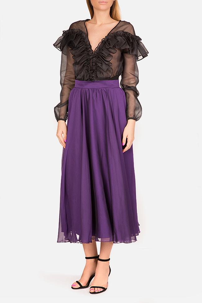 Silk-blend midi skirt Bluzat Cocktail image 1