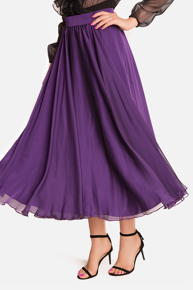 Silk-blend midi skirt Bluzat Cocktail image 3